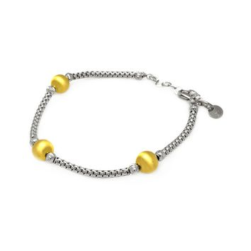 .925 Sterling Silver Rhodium &  Gold Plated Bead Strand Italian Bracelet