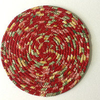 Red Christmas Coiled Rope Trivet, Fabric Hot Pad, Coiled Rope Mat, Quiltsy Handmade