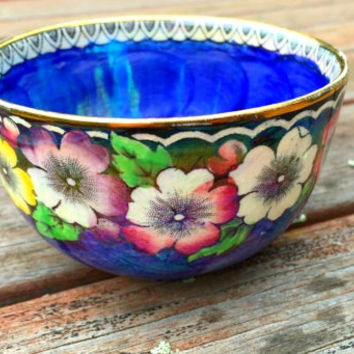 Antique Maling Ware Bowl / Art Deco Lustre Maling Ware / Vintage Lustre Ware / Maling Ware Lustre blue with flowers China Bowl /