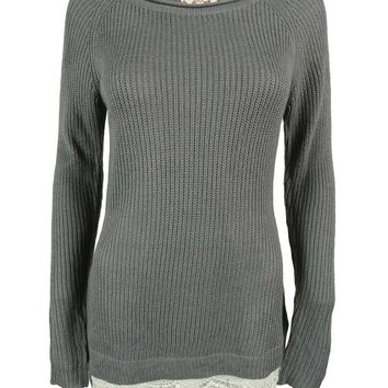 Hippie Rose Juniors' Rib Knit Crochet Hem Sweater