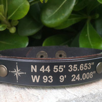 EXPRESS SHIPPING GPS Coordinate Bracelet Personalized Coordinate Leather Mens Bracelet Latitude Longitude Bracelet Custom Fathers Day Gift