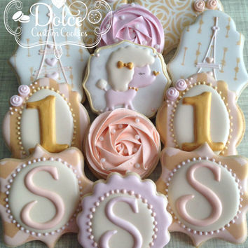 First Birthday Paris Love Monogram Cookies