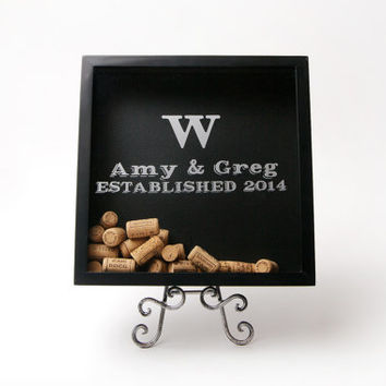 12x12 Personalized Wine Cork Shadow Box Display, Wedding Guestbook, Keepsake Display