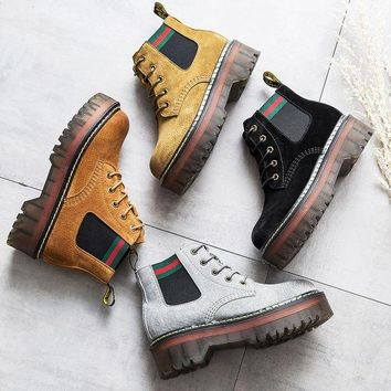 ac DCK83Q On Sale Hot Deal Leather Winter Dr. Martens Thick Crust Height Increase Boots [120848580633]