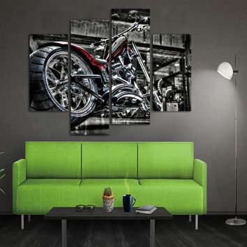 4 Panels Unframed Canvas Photo Prints Motorcycle Wall Art Picture Canvas Paintings Wall Decorations Artwork Giclee Paintings