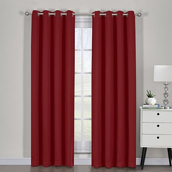 Red 54x63 Ava Blackout Weave Curtain Panels With Tie Backs Pair (Set Of 2)