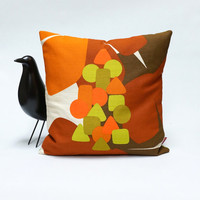 70s Retro Pillow Cover  40x40 cm / 16x16 - mid century decorative throw pillow