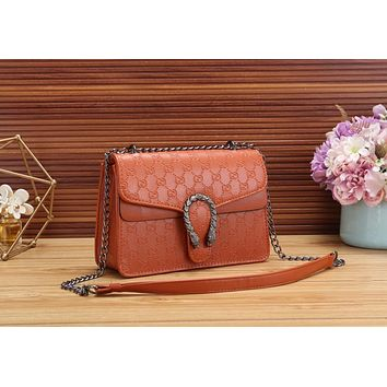 Gucci Trending Women Stylish Leather Metal Chain Shoulder Bag Crossbody Satchel Brown