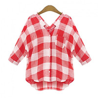 Summer Women Half Sleeve Blouse Red Plaid Shirt Bottoming Clothing Plus Size blouses y camisas mujer de encaje camisetas remeras Alternative Measures