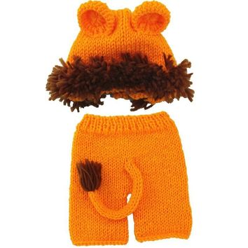 Newborn Baby Photography Props Crochet Lion Costume Knitting Newborn Fotografia Animal Hat +Pants Outfit Baby Photo Accessories