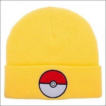 Pokemon Go Pokeball Yellow Cosplay Roll Slouch Cuff Knit Beanie Cap Hat OFFICIAL