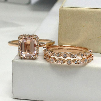 Morganite Wedding Ring Set!Diamond Engagement Ring 14K Rose Gold,6x8mm Emerald Cut Pink Morganite,Art Deco Stacking Matching Band,eternity