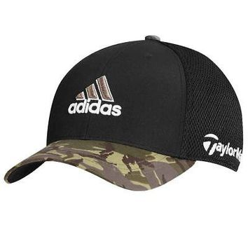 Licensed Golf TaylorMade Adidas  Tour Mesh FlexFit Black/Camo Camouflage Fitted Hat Cap