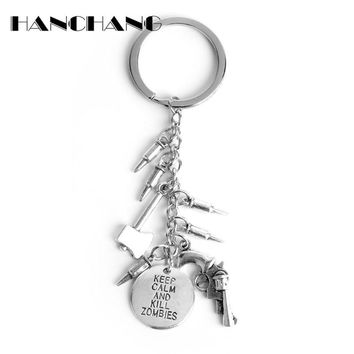 HANCHANG Jewelry The Walking Dead Keychain Key Ring KEEP CLAM AND KILL ZOMBIES Lettes Axe Gun Bullet Cools Charms Key Chain