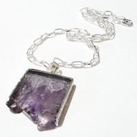 Amethyst Druzy Drussy Silver Dipped Pendant Chainmaille Necklace