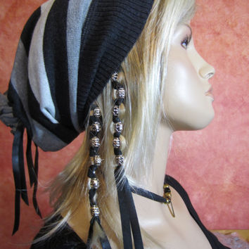 Leather Bead Hair Extensions Ponytail Holders Floral Metal Dread Bead Hair Wraps