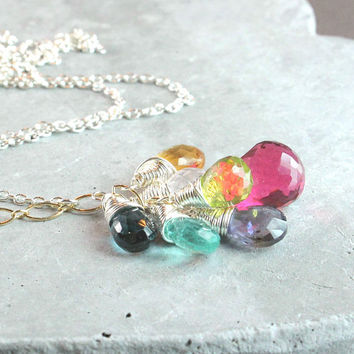 Gemstone Cluster  Necklace   Oxidized Silver  Multi Gemstone Jewelry  Multi Colored Pendant Colorful  Necklace Wire Stone Jewelry