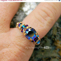 Super Shiny Sale Vintage Starlight AB Swarovski and 14k GF Wire Wrap Ring