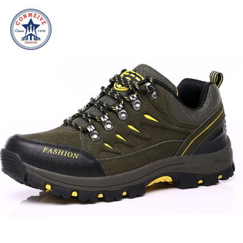 new winter waterproof men's hiking shoes outdoor sports sneakers  leather climbing trekking men and women boots