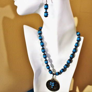 Blue Magnesite and Antiqued Brass Necklace and Earring Set