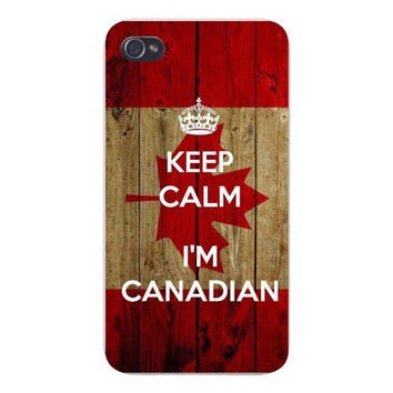Apple Iphone Custom Case 4 4s Snap on - 'Keep Calm I'm Canadian' w/ Wood Background Maple Leaf Red
