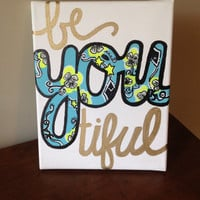 "Kappa Alpha Theta Lilly Pulitzer print ""beYOUtiful"" 8x10 stretched canvas painting"