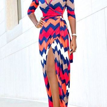 Chevron Long Maxi Dress Print Empire Waist for Women