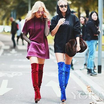 Thick with high knee-high boots stretch boots with velvet boots blue red