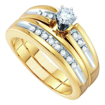 10kt White Gold His & Hers Round Diamond Solitaire Matching Bridal Wedding Ring Band Set 1/2 Cttw - FREE Shipping (US/CAN)