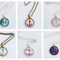 Anchor necklace, nautical jewelry, summer jewelry, summer necklace, beach jewelry, beach necklace, anchor jewelry
