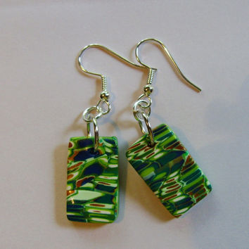 Earrings Green polymer clay beads mosaic look by GypsythatIwas