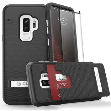 Phase Series by CLICK CASE for Samsung Galaxy S9 Plus- Hidden Wallet Back [Shockproof Slim Fit Cover] and Built-In Kickstand