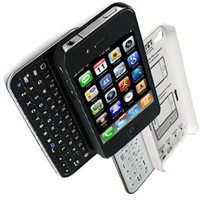 Black andWhite Bluetooth Keyboard+Hardshell Case for iPhone 4/4s/5
