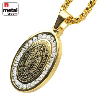 """Jewelry Kay style Men's Stainless Steel Guadalupe Virgin Mary Pendant 3 mm Box Chain 24"""" SCP 152 G"""