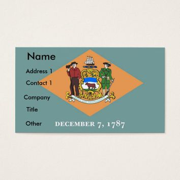 Business Card with Flag of Delaware U.S.A.