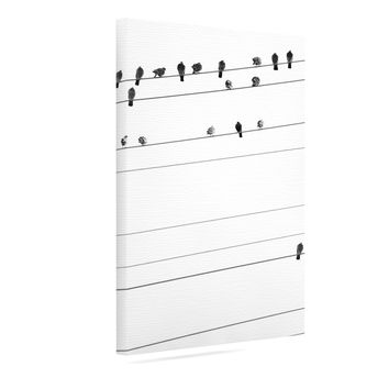 "Qing Ji ""Birds on Wire"" Black White Canvas Art"