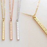 A Personalized Vertical Coordinate Bar Necklace, Bridesmaid gift for her College, graduation gift for best friend, friendship necklace, wedding location Jewelry