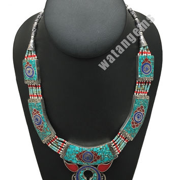 Ethnic Tribal Green Turquoise & Red Coral Inlay Boho Statement Necklace, NPN48