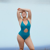 Aerie Cutout Voop One Piece Swimsuit, Emerald