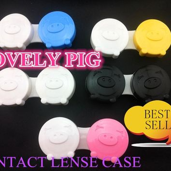 free shipping  contact lens case 20pcs lovely pig ,contact lense case good quality wholesale