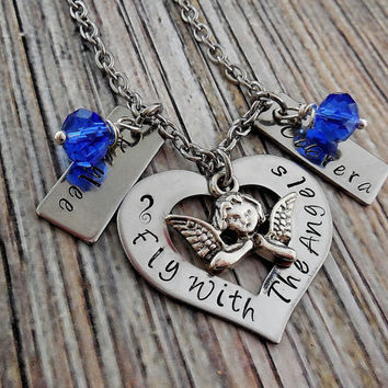 Fly With The Angels Stainless Steel Personalized Memorial Necklace  / In Memory Of Memorial Necklace / Memorial Jewelry