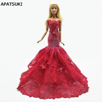Fashion Mermaid Clothes For Barbie Fishtail Wedding Party Dress For Barbie Doll Limited Collection Elegant Handmade Dress Gift