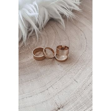 For Life Four Set Gold Band Rings
