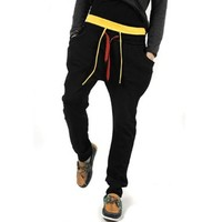Allegra K Man Drawstring Hip Pockets Fashion Long Leisure Trousers Black W30