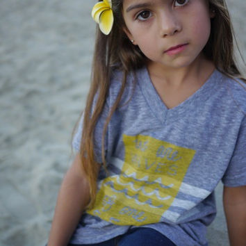 UNITY QUEST SERIES: Grey Tri-blend V-Neck T-Shirt with Waves Design in Sunshine Yellow