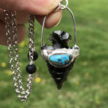 Black Obsidian and Turquoise Arrowhead Pendant Necklace