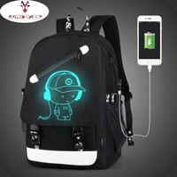 Raged Sheep Boys School Backpack Student Luminous Animation USB Charge Changeover Joint School Bags For Teenager Computer Bag