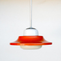 Atomic Ceiling Light - Orange and White Space Age Ceiling Lamp Pendant Lamp - 60's 70's Retro Home Decor