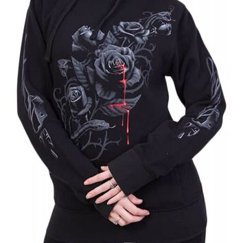 Spiral Women's Fatal Attraction Side Pocket Stitched Hoodie - Black