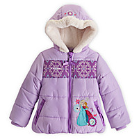 Anna and Elsa Hooded Puffy Jacket for Girls - Frozen - Personalizable